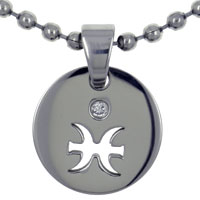Pisces Horoscope Zodiac Sign Stainless Steel Medallion Pendant Necklace 18 In