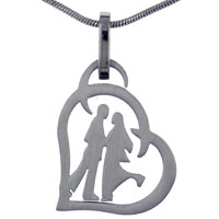 New Stainless Steel Romantic Couple Necklace Pendant For Cool Men