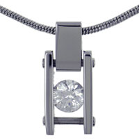 Link Scoop Stainless Steel With Clear Crystal Cz Necklaces Pendant Sterling Silver Pendant