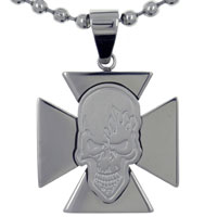 Men S Vintage Maltese Celtic Cross Halloween Skull Necklace Pendant