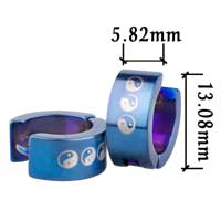 Blue Yyang Symbol Stainless Steel Mens Hoop Earrings