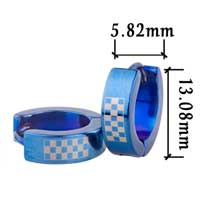 Blue Checkered Stainless Steel Mens Hoop Earrings