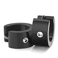 Men S Staineless Steel Hinged Hoop Earrings Popular Black Circle Clear Rhinestone Crystal Hoop Earrings