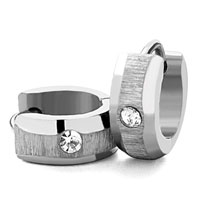 Men S Staineless Steel Hinged Hoop Earrings Silver Circle Clear Rhinestone Crystal Hoop Earrings
