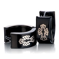 Men S Staineless Steel Hinged Hoop Earrings Black Cuciate Flower Hoop Hinged Earrings