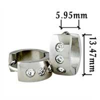 Men S Staineless Steel Hinged Hoop Earrings Clear Cubic Zirconia Cz Huggie Hoop Earrings