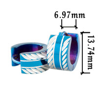 Fashion Men S Stainless Steel Blue Side Hinged Hoop Earrings