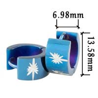 Hot Men S Stainless Steel Blue Stars Hinged Hoop Earrings