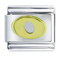 Golden Italian Charm Bracelet Plated Letter O Laser Italian Charm