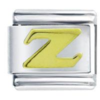 Golden Italian Charm Bracelet Plated Letter Z Laser Italian Charm