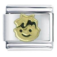 Golden Italian Charm Bracelet Boy Smiling Gift