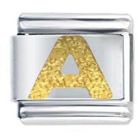 Golden Italian Charm Bracelet Tone Textured Letter A Laser Laser Italian Charm
