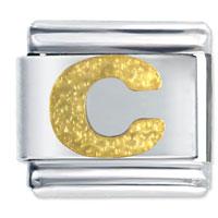 Golden Italian Charm Bracelet Tone Textured Letter C Laser Italian Charm