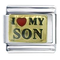 Golden Italian Charm Bracelet I Heart Son