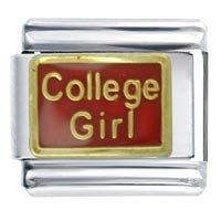 College Girl Red Graduation Italian Charm