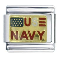 Navy Travel   Flags Italian Charm Bracelet