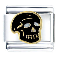 Black Halloween Skull Italian Charms