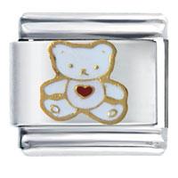White Teddy Bear Heart Italian Charm Bracelet