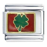Golden Italian Charm Bracelet Lucky Clover Birthstones Jewelry