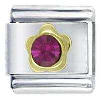 July Ruby Color Birhtstone Flower Birthstone Italian Charms