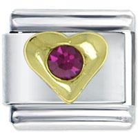 Jewelry July Ruby Birthstone Heart Golden Italian Charm For Bracelet