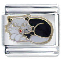 Sleepy Black White Cat Italian Charms