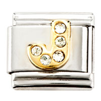 Golden Tone J Letter April Birthstone Crystal Cz Italian Charms Laser Italian Charm