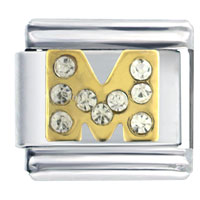 Golden Italian Charm Bracelet Letter M Studded Gift