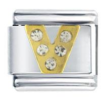 Letter V Studded Italian Charms Bracelet Link
