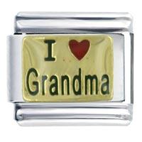 Golden Italian Charm Bracelet I Heart Grandma