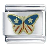 Usa Butterfly Italian Charm Bracelet