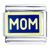 Mom In Blue Italian Charms Bracelet Link
