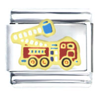 Golden Italian Charm Bracelet Fire Engine