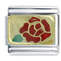 Gold Rose Red Birthstones Jewelry Italian Charm
