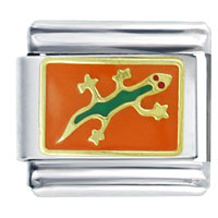 Gecko Orange Animal Italian Charms