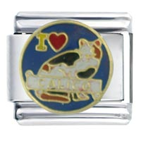 I Heart Calico Cat Italian Charm Bracelet