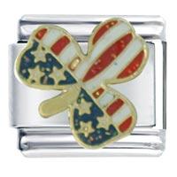 Usa Flag Clover Italian Charm Bracelet