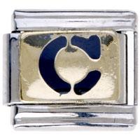 Letter C Golden Italian Charm Bracelets Laser Italian Charm