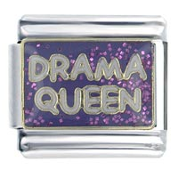 Glitter Purple Drama Queen Words Phrases Italian Charms