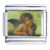 Italian Charms - bracelet cherub baby angel thinking fashion jewelry italian charm Image.