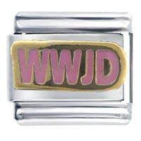 Bracelet Golden Italian Charm Wwjd Pink Inspriational