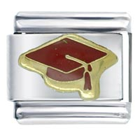Jewelry Silver Tone Graduation Cap Red Italian Charms Links Bracelet