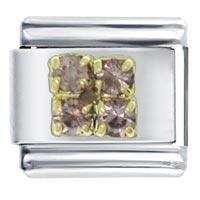 Golden Italian Charm Bracelet 4 Pcs June Pearl Color Birthstone Studded