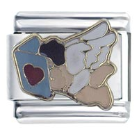 Enamel Angel Book Of Love Italian Charm Stainless Steel 9 Mm Link