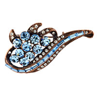 Scroll Pale Blue Flower Clear Swarovski Crystal Diamond Accent Brooches And Pins