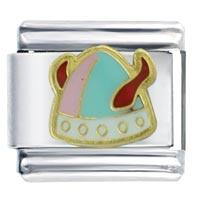 Colorful Enamel Viking Hat Italian Silver Tone Links Charms Bracelet Italian Charm