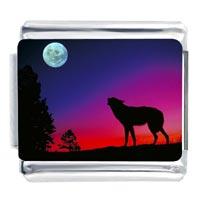 Italian Charms - wolf at sundown italian charm Image.