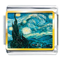 Italian Charms - starry night photo italian charm Image.