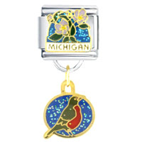 Michigan State Flower Bird Italian Charm Bracelet Bracelet Link Dangle Italian Charm