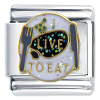 I Live To Eat Hearts Italian Charms Bracelet Link